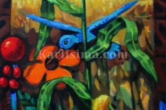 Corn_And_Flower_Blue_Humming_Bird